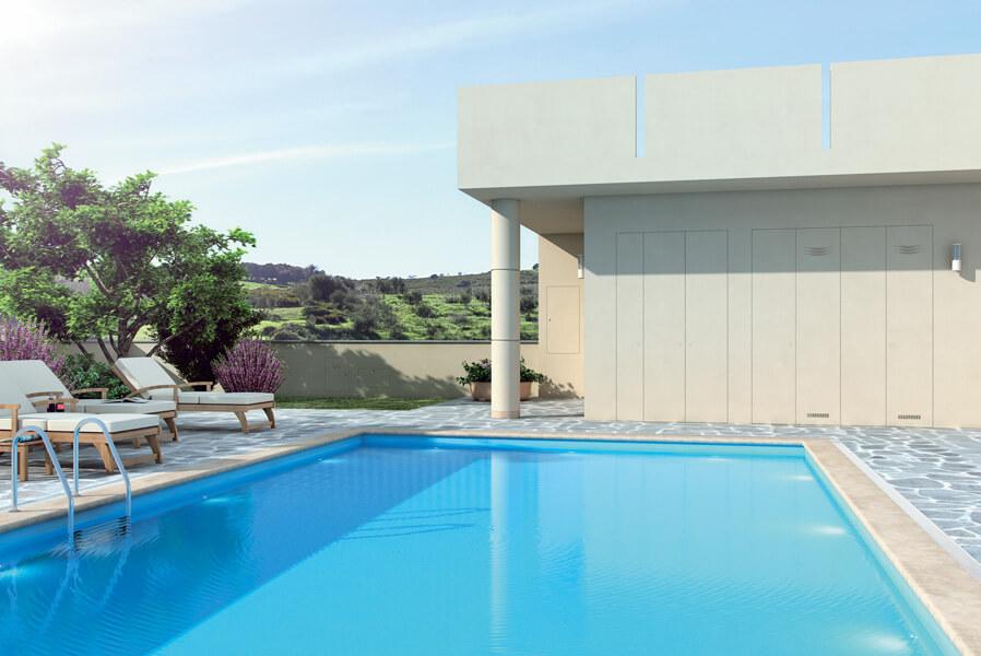 foto di chiudere gli spazi bordo piscina