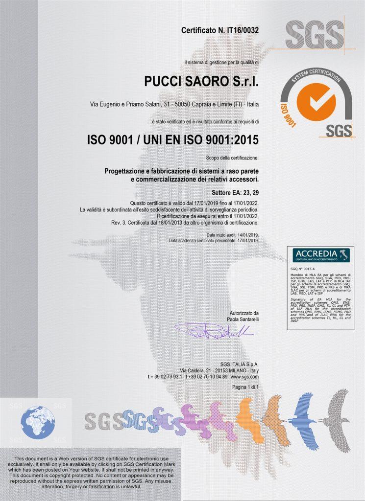 foto di certificato SGS Raso Parete