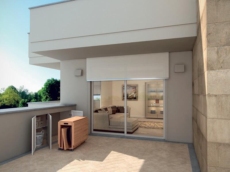 foto di mobili in alluminio per ripostiglio esterno raso parete
